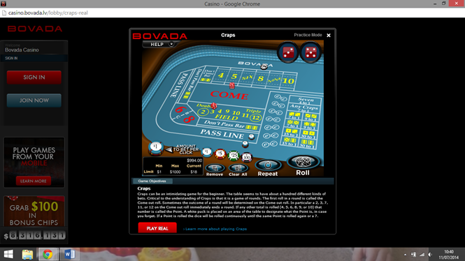 Bovada Casino Review - A Look at the Craps & Other Games